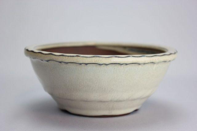 丸縄縁中帯,クリーム,4号,中国鉢,植木鉢