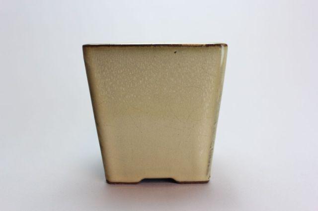 正方切立深クリーム,3号,中国鉢,植木鉢,盆栽鉢