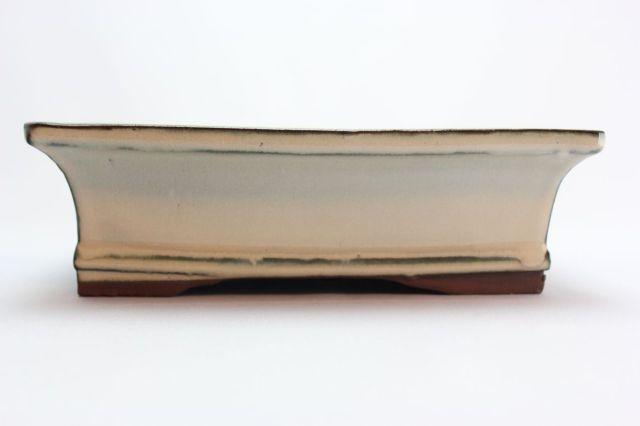 長方形外縁下帯,クリーム,7号,中国鉢,植木鉢