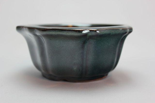 輪花外縁,織部,4号,中国鉢,植木鉢
