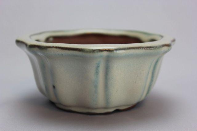 輪花外縁,クリーム,4号,中国鉢,植木鉢