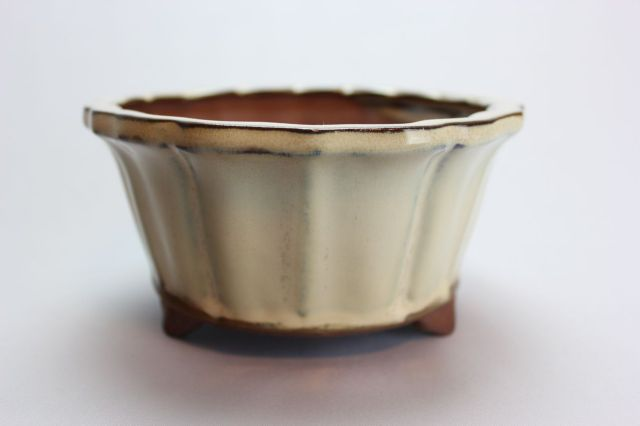 輪花下帯雲足,クリーム,5号,中国鉢,植木鉢