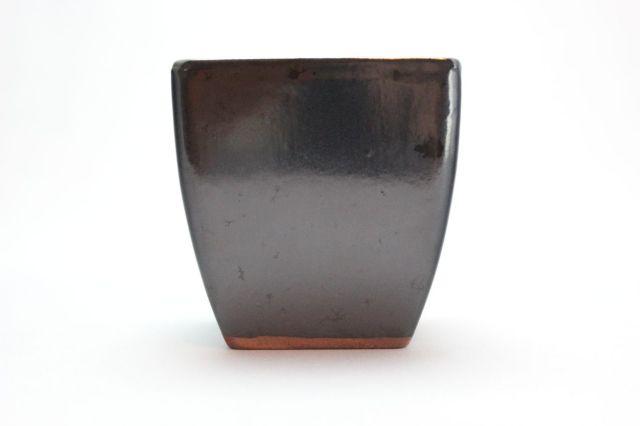 正方切立(深),黒釉,3号,中国鉢,植木鉢