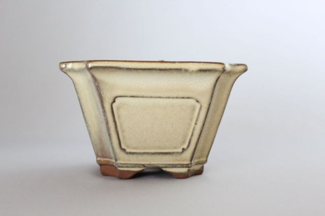 正方外縁隅切額入,クリーム,4号,中国鉢,植木鉢