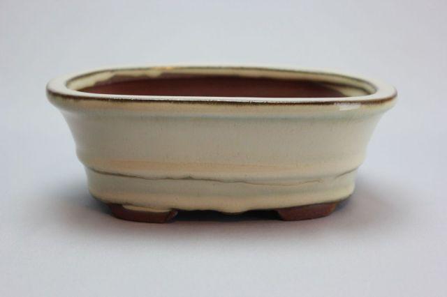 楕円外縁中下帯,クリーム,5号,中国鉢,植木鉢