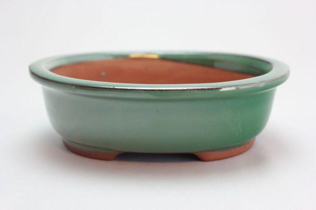 楕円外縁,織部,6号,中国鉢,植木鉢