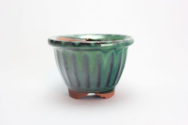 輪花中深段足,織部,4号,中国鉢,植木鉢