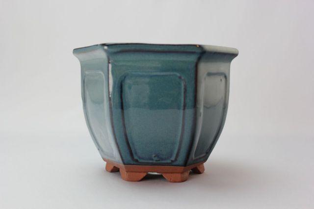 六方外縁額入,生子,中国鉢,植木鉢,盆栽鉢