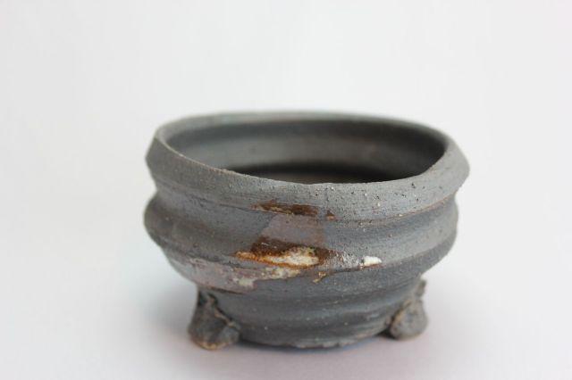 黒地白釉流大深,3号,信楽焼,植木鉢,盆栽鉢
