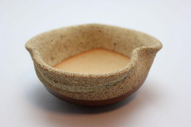 窯肌三方曲げ,3.5号,信楽焼,植木鉢,盆栽鉢