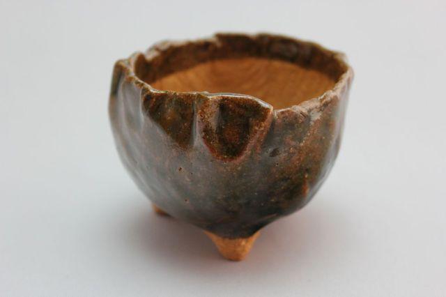 万作利休つぼみ型,3号,信楽焼,植木鉢,盆栽鉢