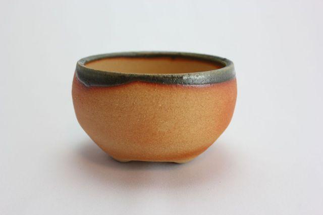 焼締緑釉鉄鉢丸,5号,信楽焼,植木鉢,盆栽鉢