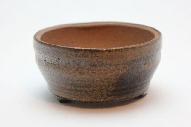 手造足付中深,4号,信楽焼,植木鉢,盆栽鉢