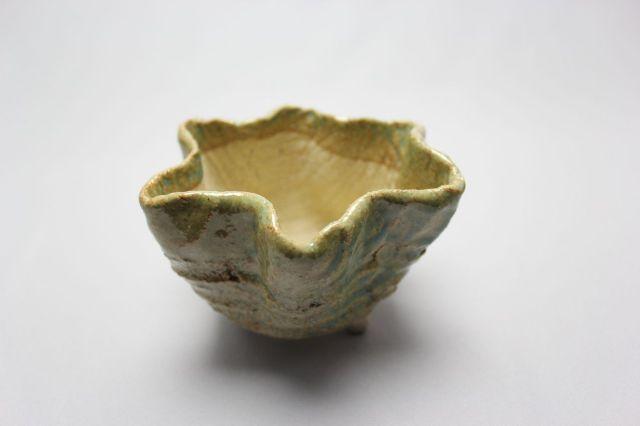 万作薄緑花形,4号,信楽焼,植木鉢,盆栽鉢