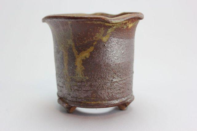 鉄伊羅保ソリひねり,3.5号,信楽焼,植木鉢,盆栽鉢