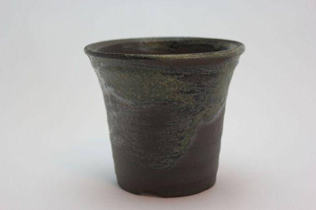 緑変深そり,3.5号,信楽焼,植木鉢,盆栽鉢