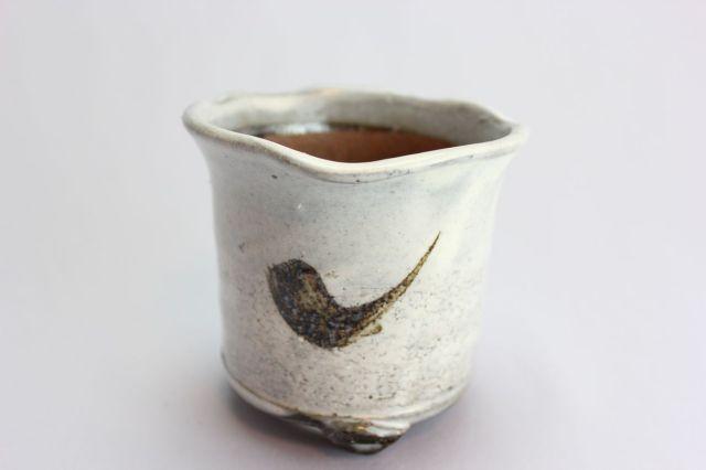 白中深丸,3.5号,信楽焼,植木鉢,盆栽鉢