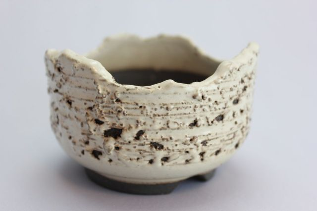 白窯変松皮ちぎり尻丸,3号,信楽焼,植木鉢,盆栽鉢