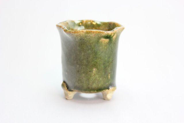 万作緑花形,2号,信楽焼,植木鉢,盆栽鉢