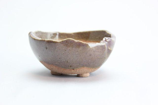 万作紫中浅丸,3号,信楽焼,植木鉢,盆栽鉢