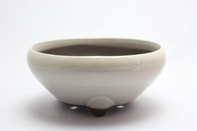 クリーム丸鉄鉢,5号,瀬戸焼,植木鉢,盆栽鉢