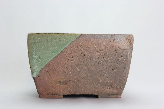 誠山,長角中深,4号,常滑焼,植木鉢