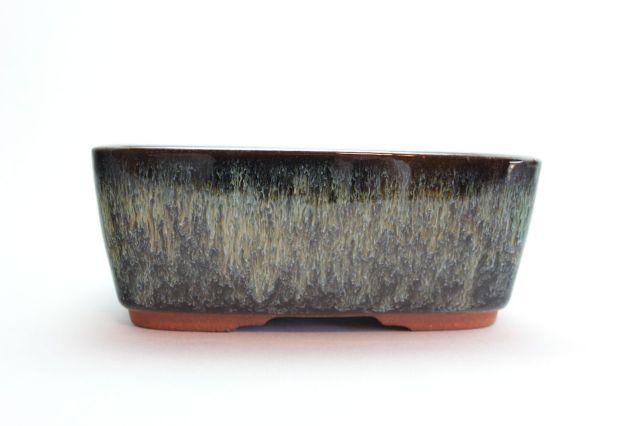燿山長方撫角切立中深,5号,常滑焼,植木鉢,盆栽鉢