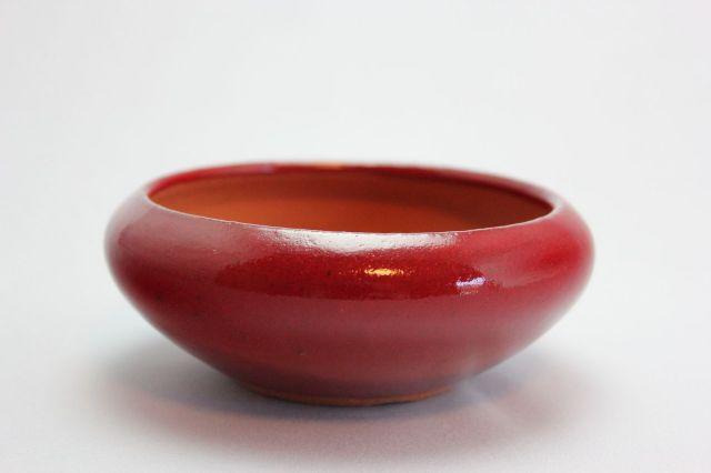 燿山赤丸鉄鉢,4号,常滑焼,植木鉢,盆栽鉢
