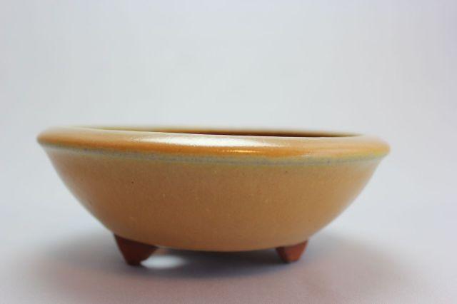 燿山黄丸陣笠足付,5号,常滑焼,植木鉢,盆栽鉢