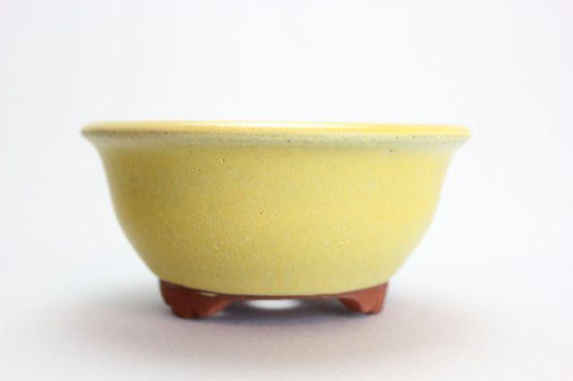 燿山黄丸深陣笠足付,4号,常滑焼,植木鉢,盆栽鉢