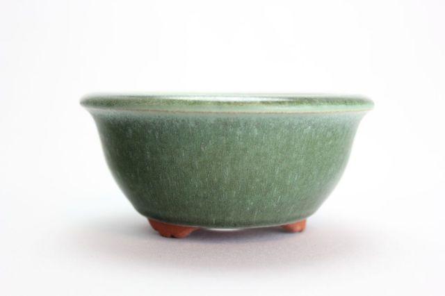 燿山オリベ丸深陣笠足付,4号,常滑焼,植木鉢,盆栽鉢