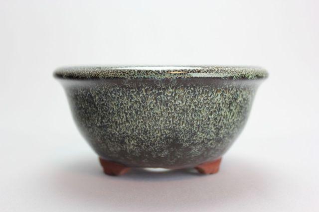燿山生子丸深陣笠足付,4号,常滑焼,植木鉢,盆栽鉢
