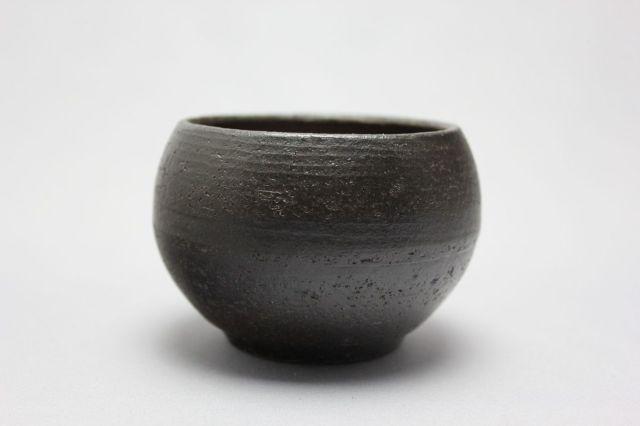 丸球鉢,墨釉,萬古焼,植木鉢,盆栽鉢