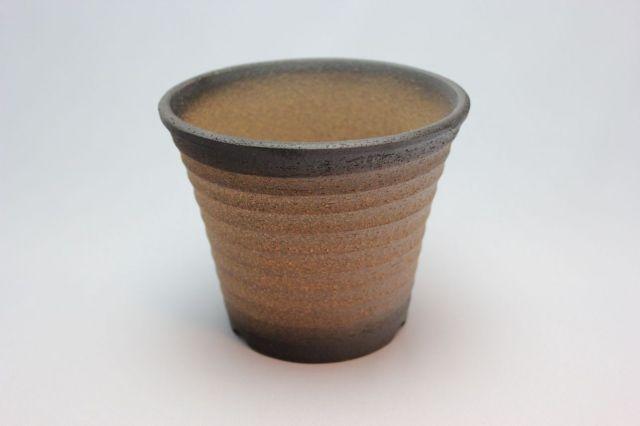 黒吹,ソリ型エビネ鉢,4号,萬古焼,植木鉢