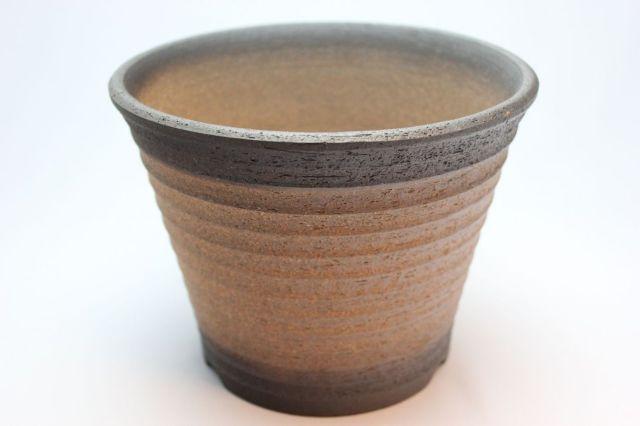 黒吹,ソリ型エビネ鉢,6号,萬古焼,植木鉢