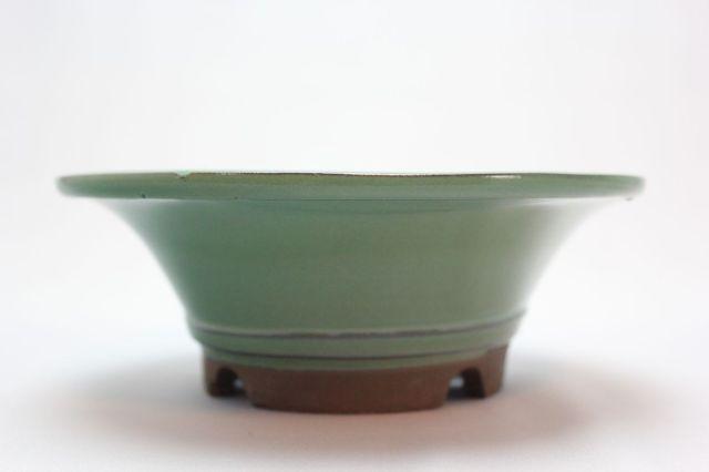 陣笠中深,織部,6号,萬古焼,植木鉢