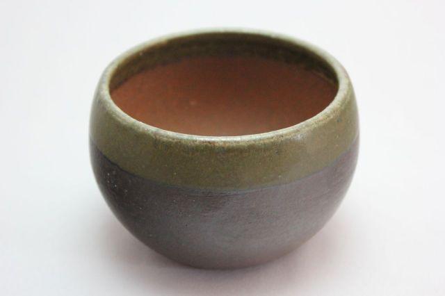 丸球鉢,緑縁,3号,萬古焼,植木鉢