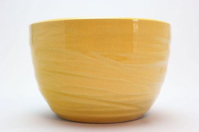丸中深,黄釉,5号,萬古焼,植木鉢
