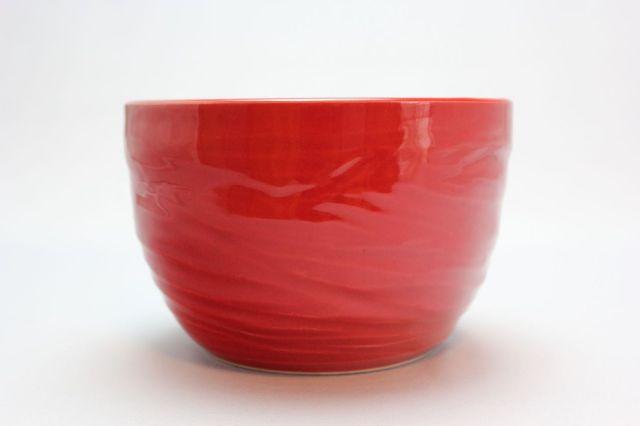 丸中深,赤釉,5号,萬古焼,植木鉢
