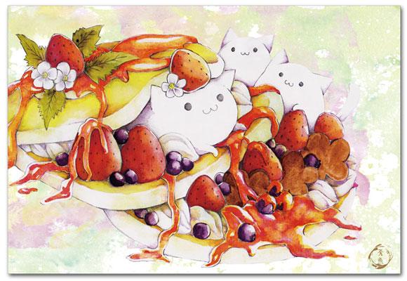 白ネコとパンケーキ