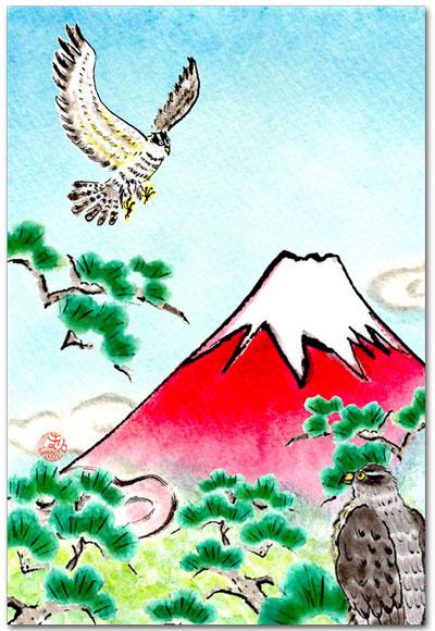 赤富士と鷹