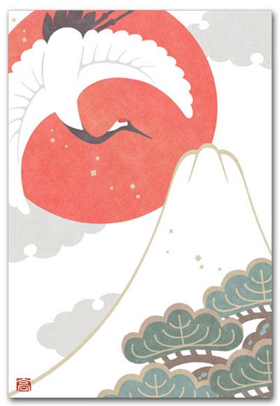 鶴と白富士