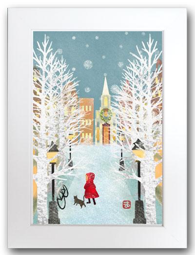 雪の街角白