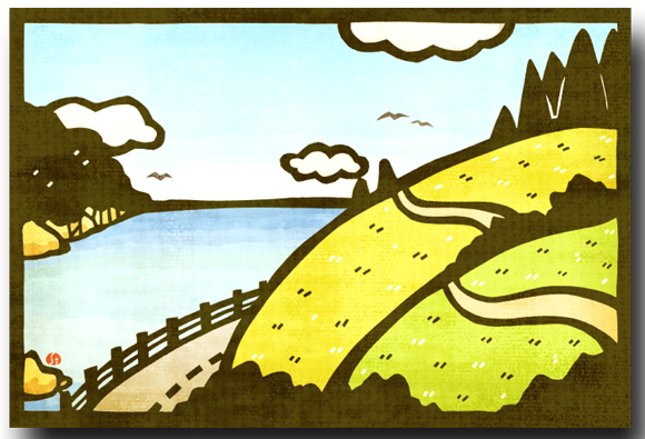 日本の風景海と丘