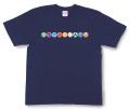 和柄Tシャツ「家紋づくし・紺の壱」