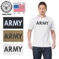 ☆サマークリアランスセール☆★キャンペーン対象外★HOUSTON ヒューストン 21243US 米国製 S/S プリント クルーネック Tシャツ ARMY