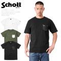 【ネコポス便対応】Schott ショット 3193049 S/S クルーネック レザーポケットTシャツ ONE STAR【キャンペーン対象外】