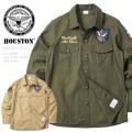 ☆21%OFF割引中☆HOUSTON ヒューストン 40580 U.S.ARMY ミリタリーシャツ PATCHED 米軍 ファッション