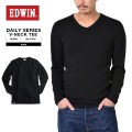 ☆15%OFFセール☆EDWIN エドウィン デイリーウェア 57305 RIB VネックTシャツ BLACK