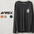 AVIREX アビレックス 6103542 ミニワッフル Vネック 長袖Tシャツ TOP GUN ACE【キャンペーン対象外】